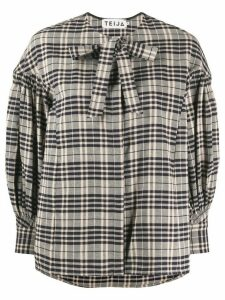 Teija check print blouse - NEUTRALS