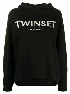 Twin-Set Maxi embroidered logo hoodie - Black