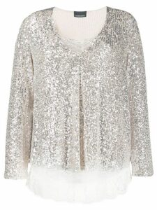 Ermanno Ermanno lace detail sequin top - NEUTRALS