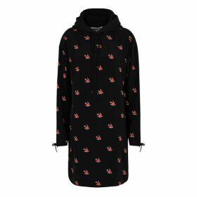 McQ Alexander McQueen Swallow-print Hooded Sweatshirt Dress
