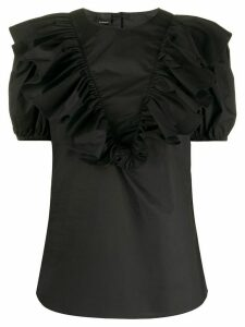 Pinko ruffle-trimmed puff-sleeved blouse - Black