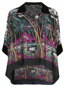 Sacai palm tree print cropped shirt - Blue