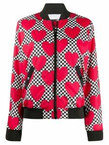 Love Moschino checkerboard heart-print bomber jacket - White