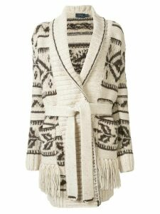 Polo Ralph Lauren fringe-trim shawl cardigan - Brown