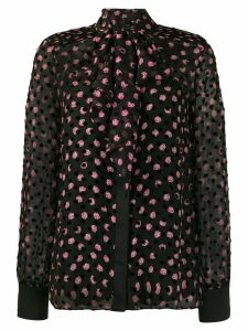 Diane von Furstenberg Minnie Devore pussy-bow blouse - Black