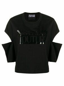 Versace Jeans Couture logo-print cut-out top - Black