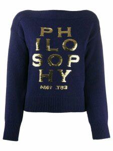 Philosophy Di Lorenzo Serafini sequin logo jumper - Blue