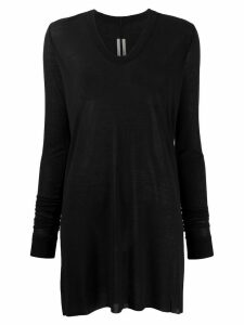 Rick Owens sheer longline jersey top - Black