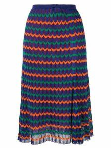 Kolor pleated geometric midi skirt - PURPLE