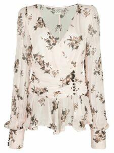 Baum Und Pferdgarten button-detail floral-print chiffon blouse - PINK