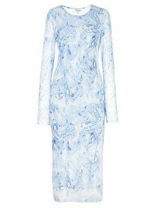 Baum Und Pferdgarten marble-print bodycon midi dress - Blue