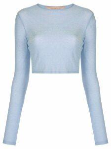 Andamane long-sleeved metallic cropped top - Blue