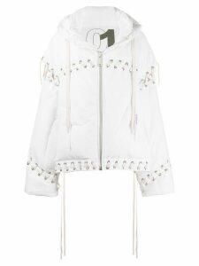 Khrisjoy oversized lace-up puffer jacket - White