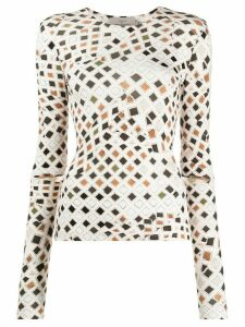 Preen By Thornton Bregazzi wood blocking print top - NEUTRALS