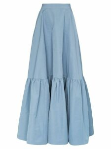 Plan C tiered maxi skirt - Blue