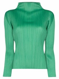 Pleats Please Issey Miyake high-neck plissé blouse - Green