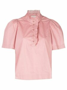 Sea ruffle band-collar short sleeved blouse - PINK