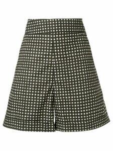 Marni checked high-rise shorts - Green