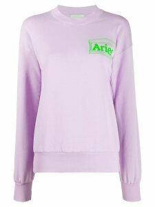 Aries logo print cotton sweatshirt - PURPLE