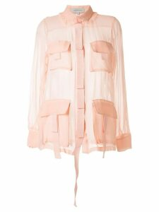Lee Mathews Kitty ruffle collar silk shirt - PINK