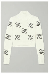 Fendi - Cropped Embroidered Wool And Cashmere-blend Turtleneck Sweater - Ivory