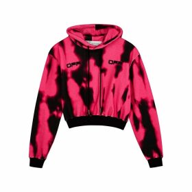 Off-White Tie-dyed Cropped Cotton Sweatshirt