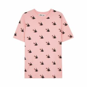 McQ Alexander McQueen Light Pink Swallow-print Cotton T-shirt