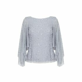 Adrianna Papell Beaded Flutter Sleeve Top