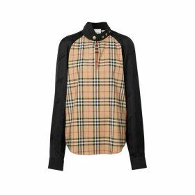 Burberry Vintage Check Stretch Cotton And Logo Jacquard Top