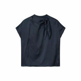Jigsaw Tie Neck Jersey Silk Front Tee