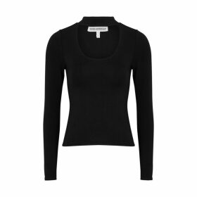 Good American Black Cut-out Stretch-jersey Top