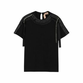No.21 Black Embellished Cotton T-shirt