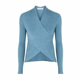 Live The Process Blue Wrap-effect Cotton-blend Top