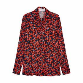 Victoria, Victoria Beckham Navy Cherry-print Satin Shirt