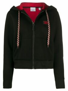 Burberry logo appliqué zip-up hoodie - Black