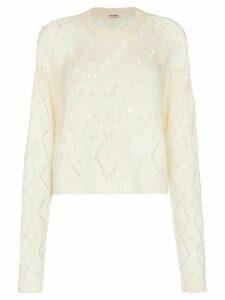 Miu Miu cropped faux pearl-embellished open-knit jumper - White