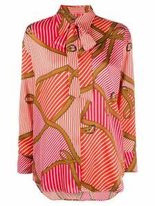 MSGM striped belt print shirt - Red