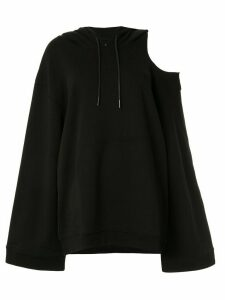 GOODIOUS oversized cut-out shoulder hoodie - Black