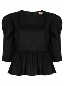 Brock Collection ruffled puff-shoulder blouse - Black