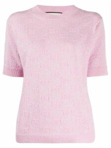 Gucci metallic knitted logo top - PINK