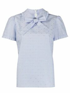 RedValentino embroidered shortsleeved blouse - Blue