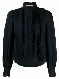 See by Chloé pleated ruffle front blouse - Blue
