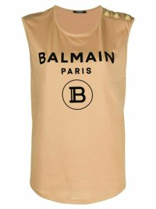 Balmain logo detail tank top - NEUTRALS