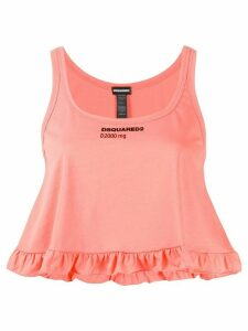 Dsquared2 ruffle detail cropped tank top - PINK