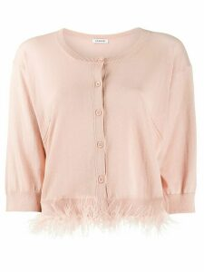 P.A.R.O.S.H. Chantal feather trim cardigan - PINK
