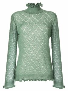 Undercover sheer argyle knit sweater - Green