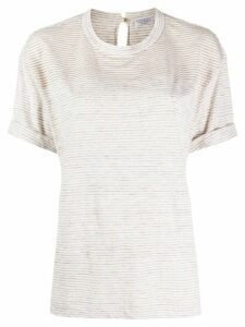 Brunello Cucinelli monili-embellished striped T-shirt - NEUTRALS