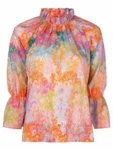 Cynthia Rowley marble-print blouse - ORANGE