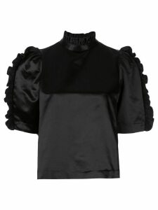 Cynthia Rowley Felicity satin ruffle top - Black