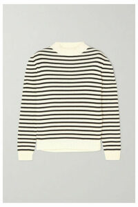 SAINT LAURENT - Striped Cotton And Wool-blend Sweater - White